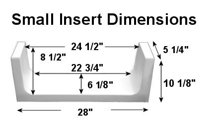Image of small tub to shower kit for tub conversion including specific measurements and dimensions