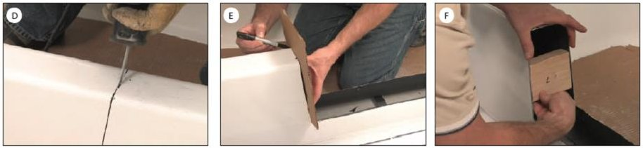 Shows Images for How to Install a Tub to Shower kit. Image D shows how to cut the sides. Image E shows tracing the sides. Image F shows inserting support blocks