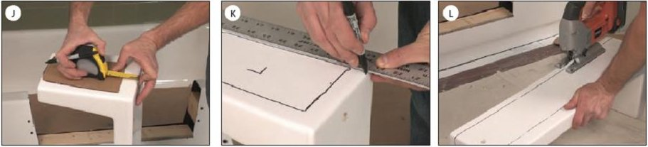 Shows Images for How to Install a Tub to Shower kit. Image J shows how to trace the pattern on the kit. Image K shows connecting the lines. Image L shows cutting the bottom of the kit