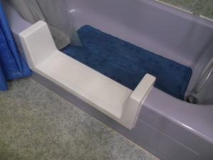 Image from customer testimonials showing easily installed tub to shower conversion kit